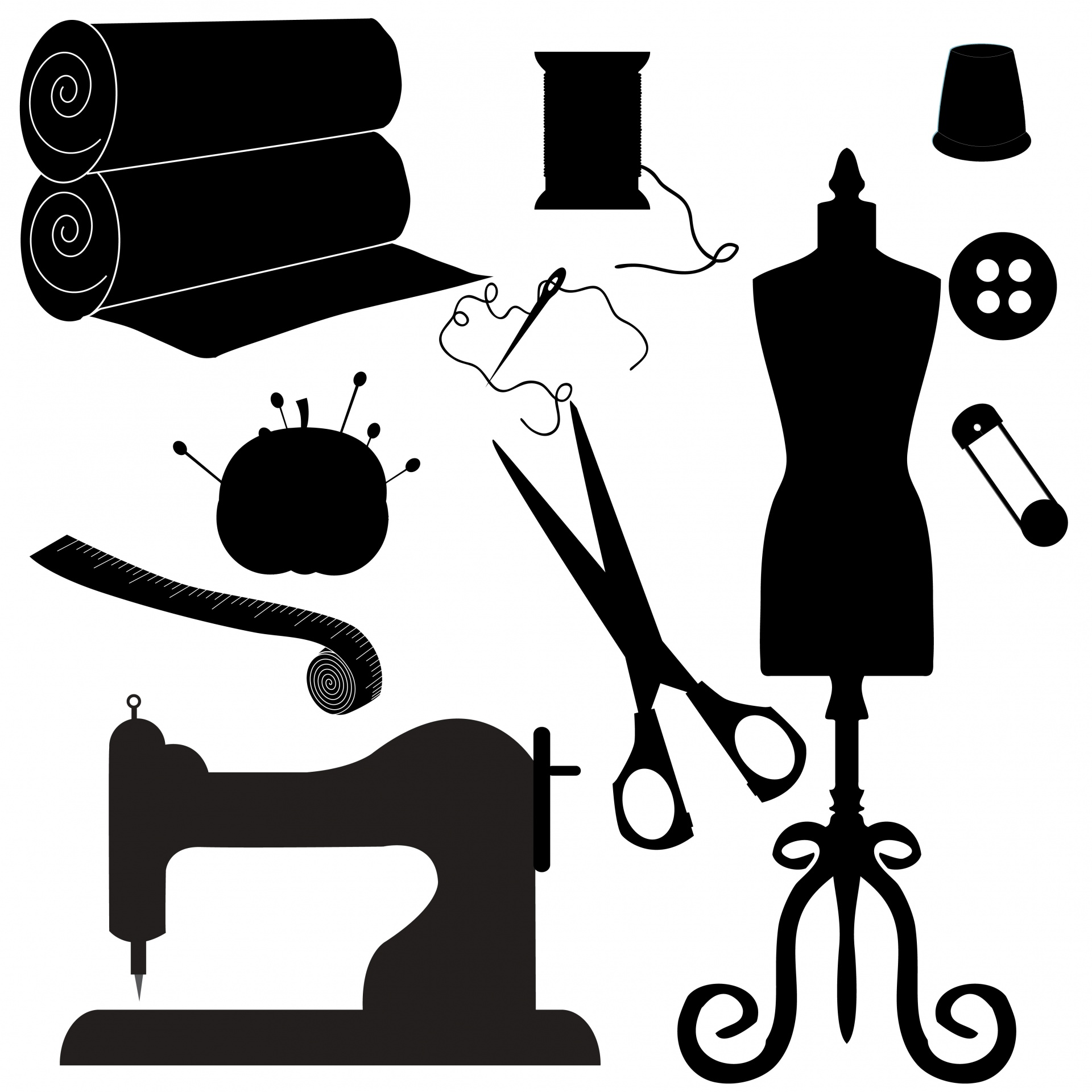 Sewing Symbols Clipart Silhouette Free Stock Photo.