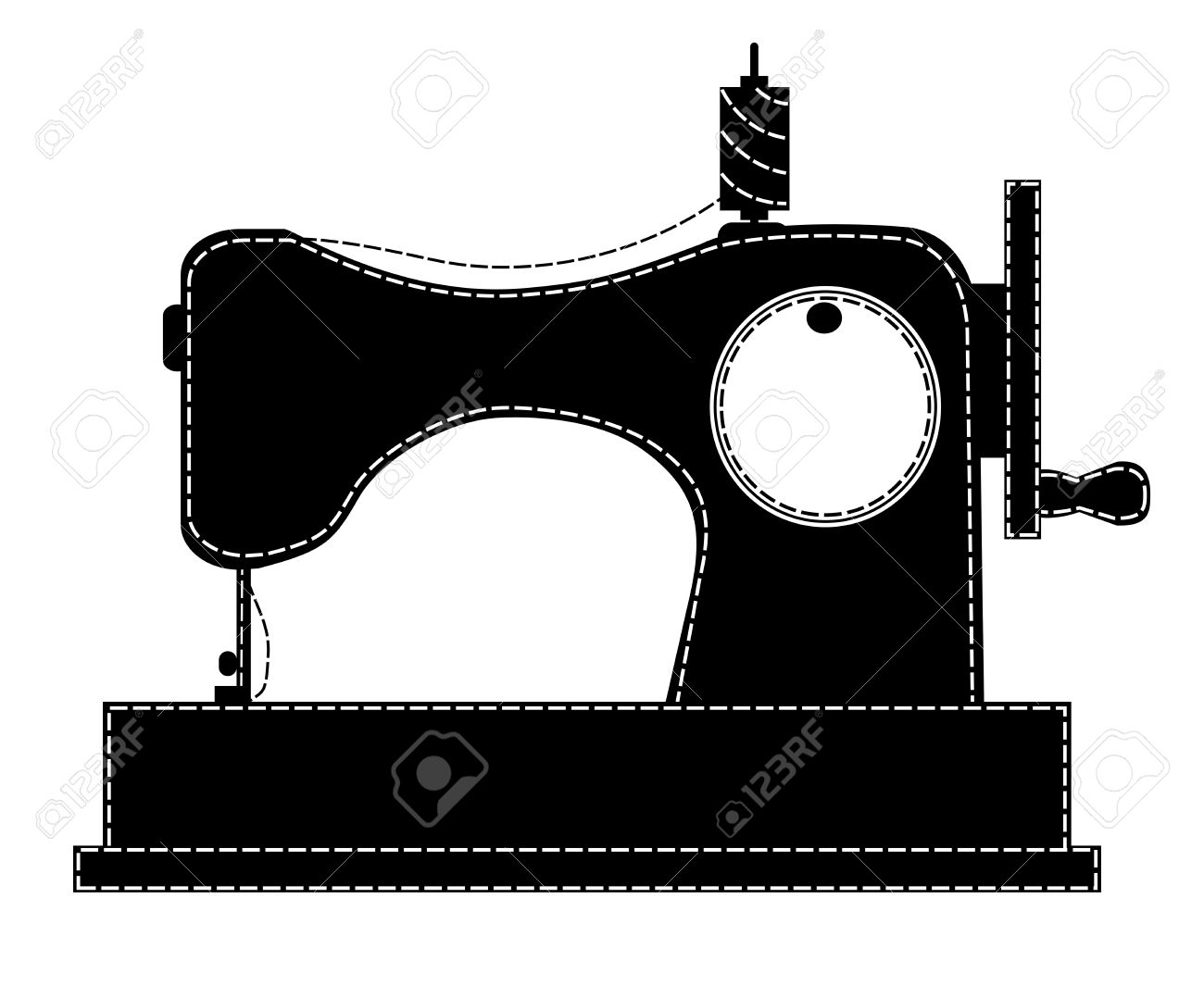 Silhouette of the sewing machine » Clipart Station.