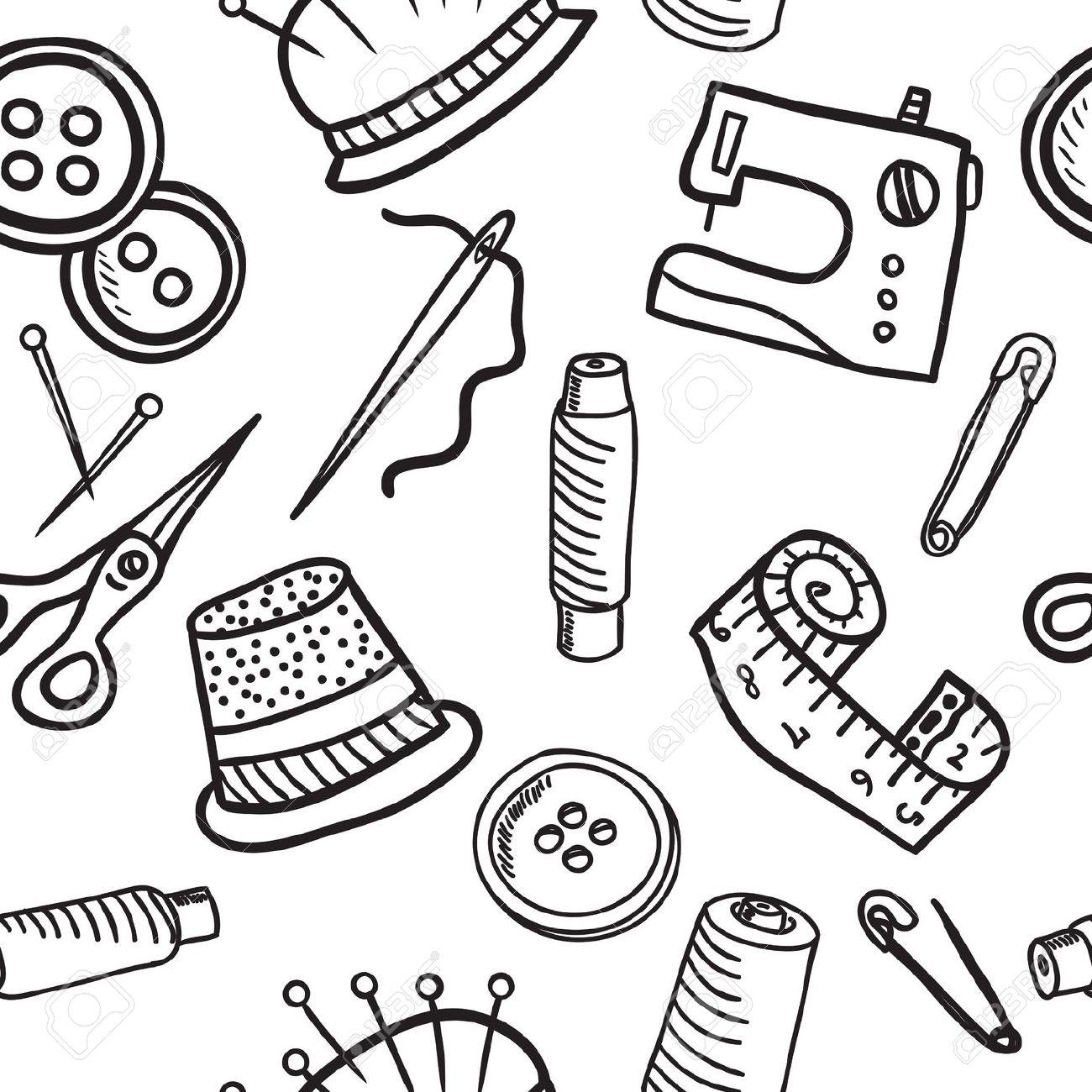 Sewing And Accessories Seamless Pattern.