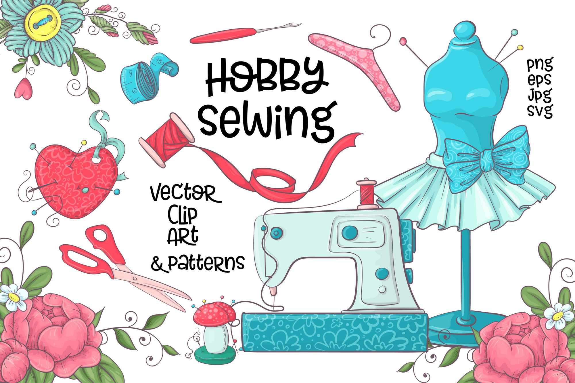 Hobby Sewing vector clip art.