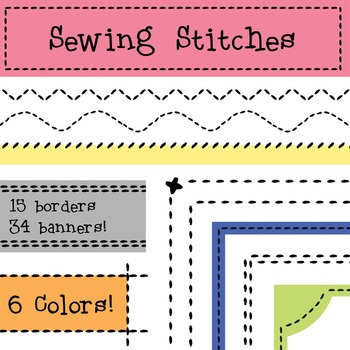 Sewing Stitches Borders and Banners, Embroidery Clip Art, Patchwork,  Quilting.