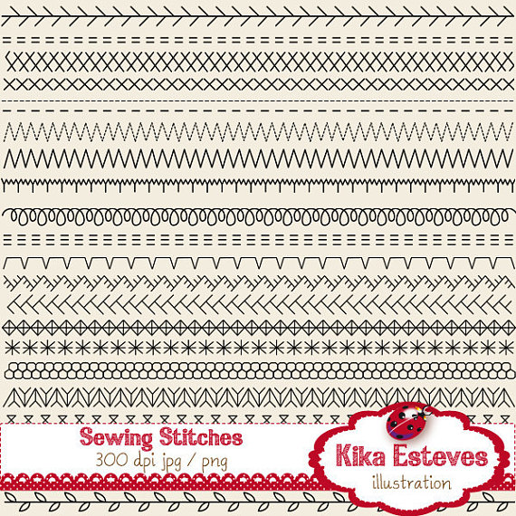 44 Sewing Stitches Clipart.