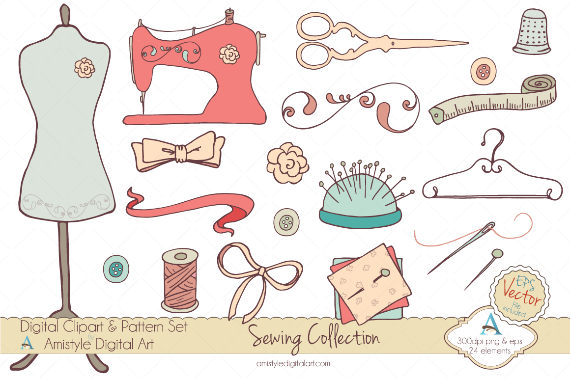 Hand drawn sewing supplies clipart set perfect for.