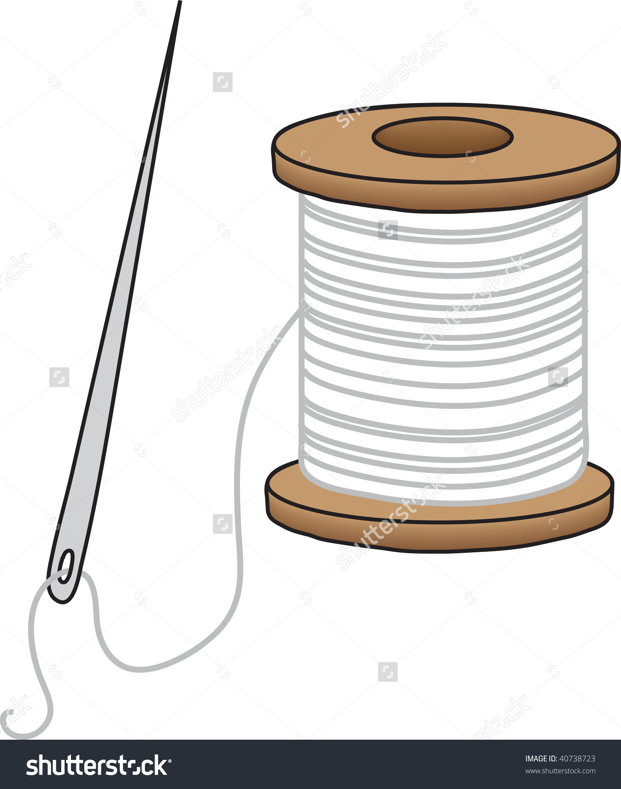 Clipart Illustration Sewing Needle Spool White Stock Illustration.