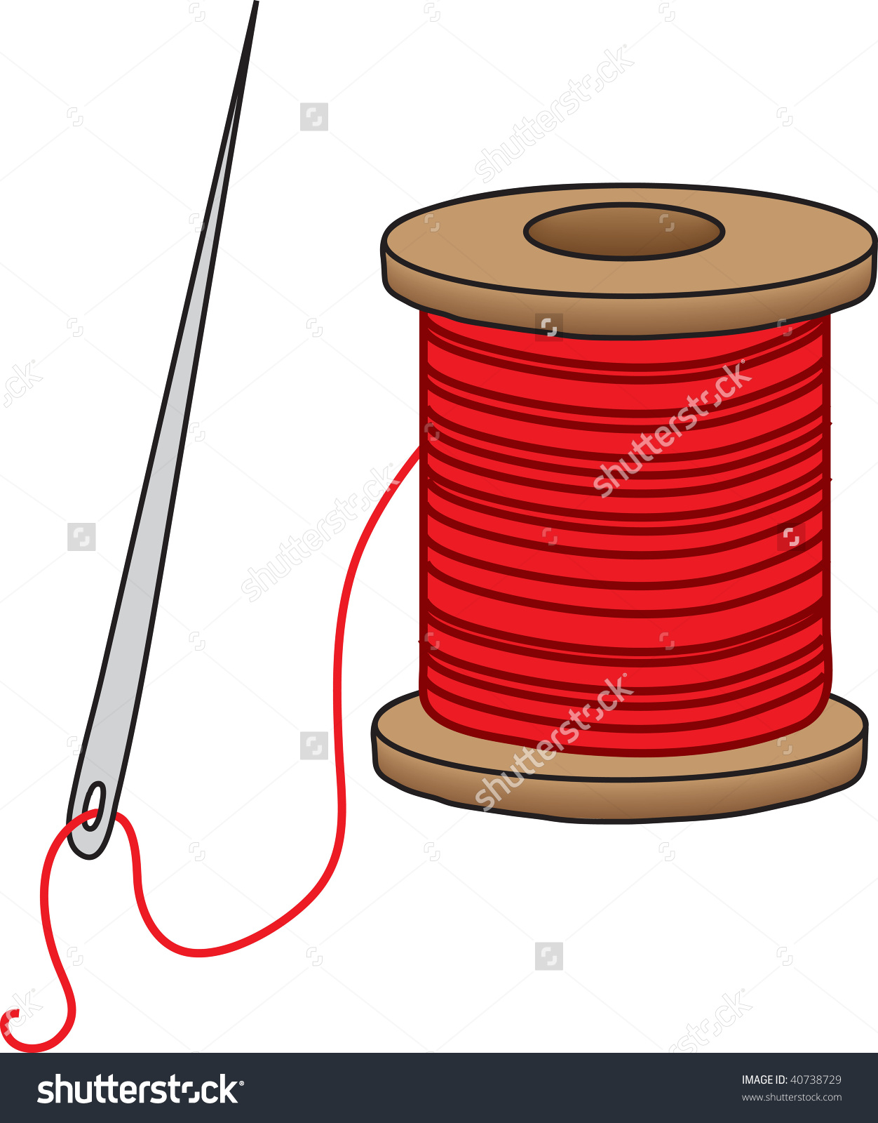 Clipart Illustration Sewing Needle Spool Red Stock Illustration.