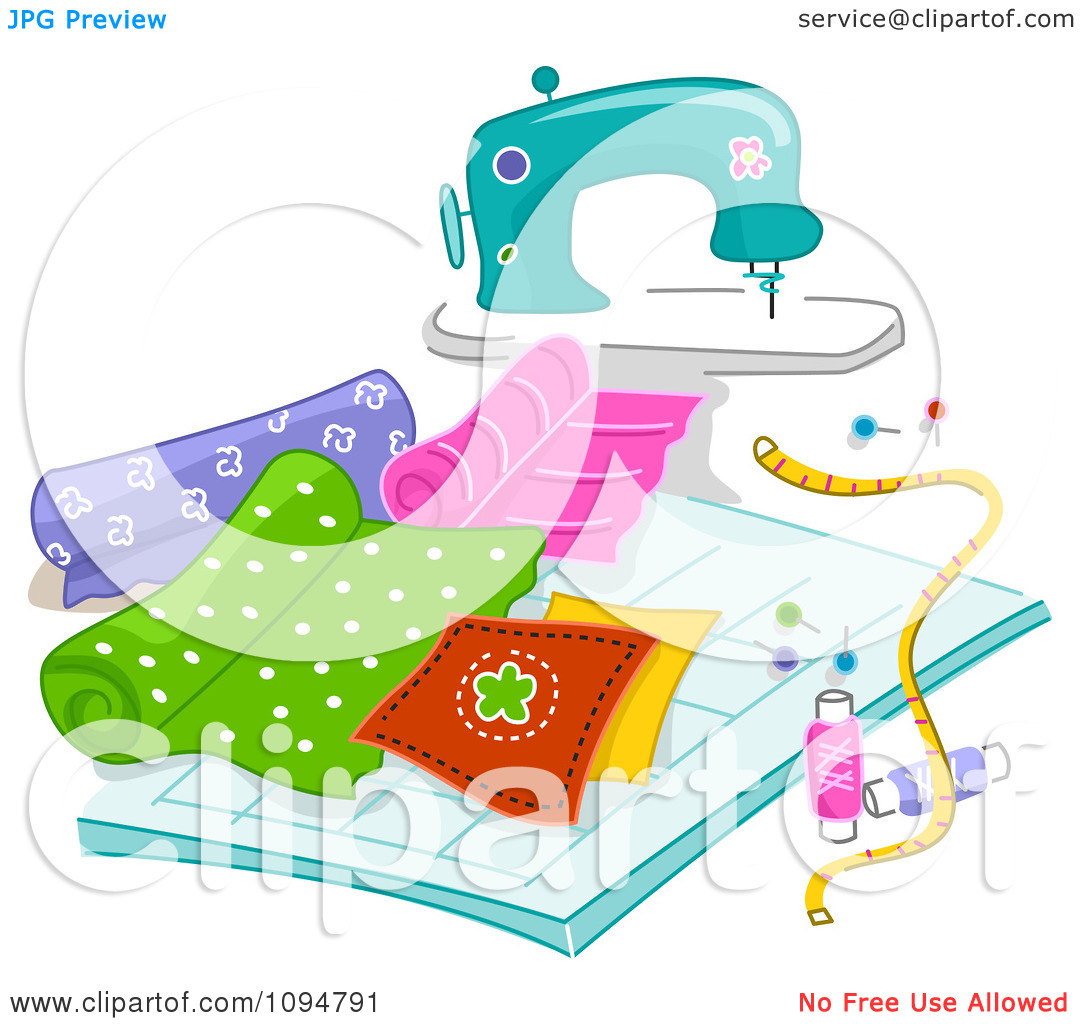 Clipart Sewing Machine With Quilting Fabric.