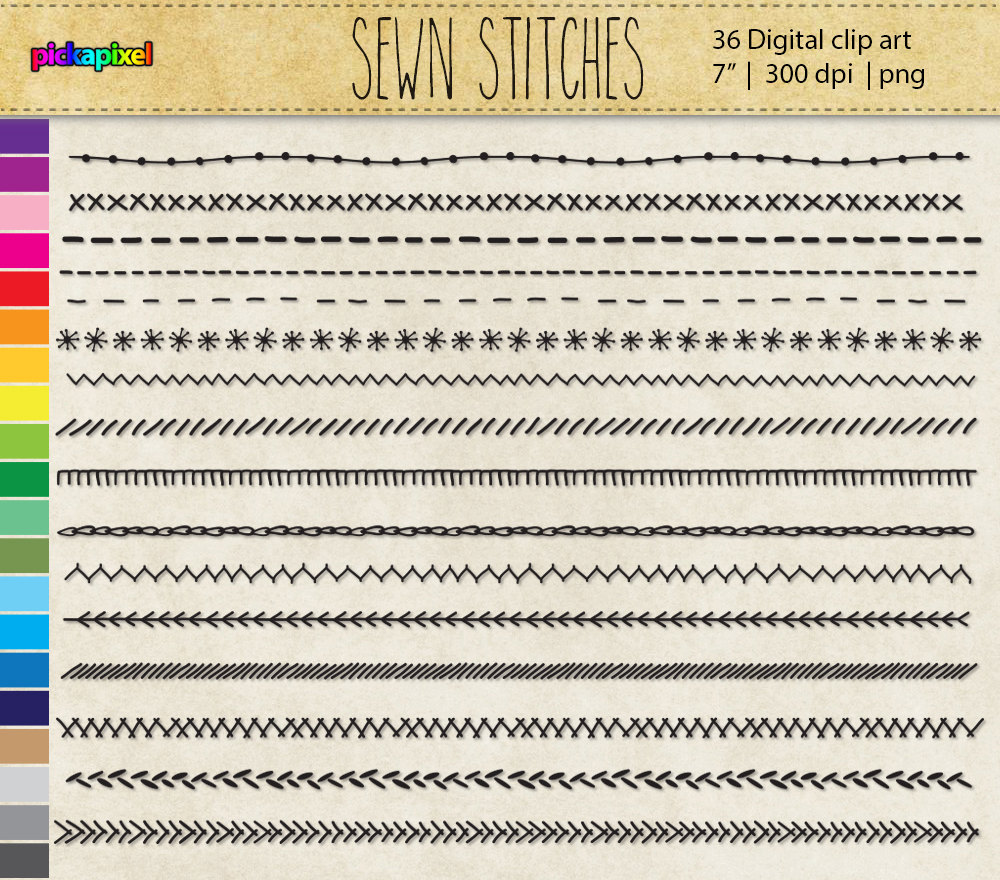 Sewing stitches clipart.