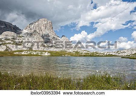 """Stock Photo of """"Laghi dei Piani lake, Sexten Dolomites, South."""