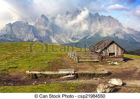 Stock Images of Morning view from Sexten Dolomites with chalet.