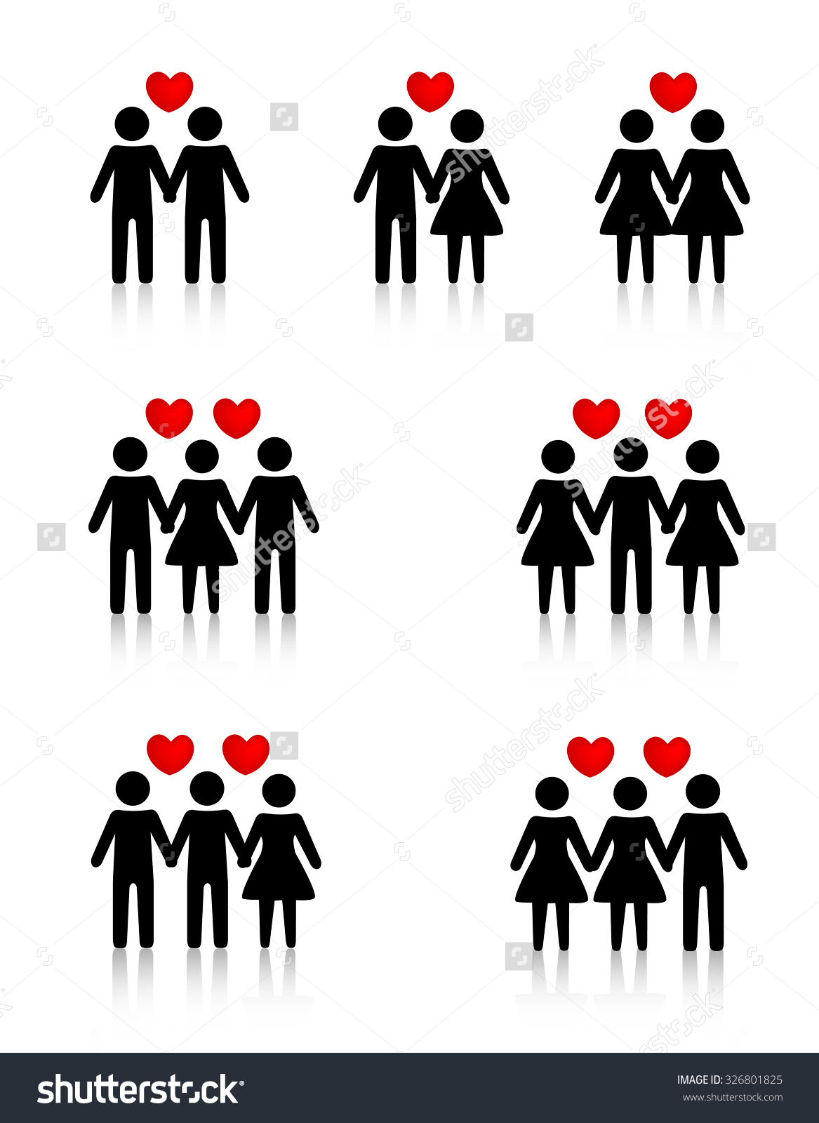 Clipart Collection Representing Human Love Sexual Stock.