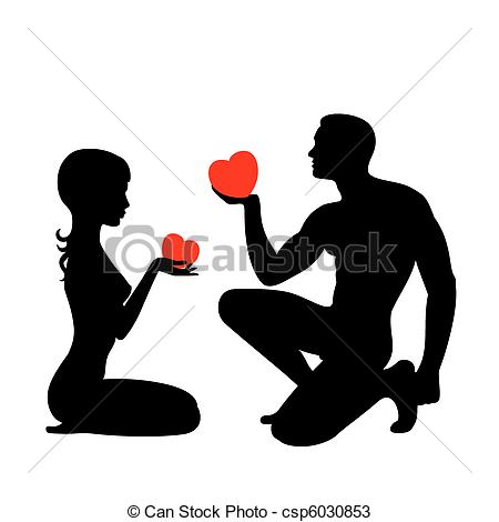 Vectors of Silhouettes of lovers which give the hearts each other.