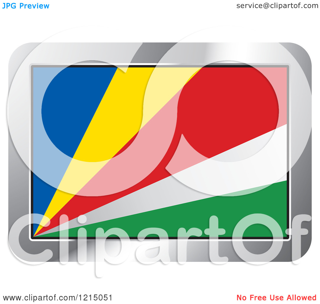 Clipart of a Seychelles Flag and Silver Frame Icon.