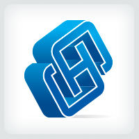 3D Letters SH or HS Logo.