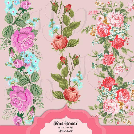Shabby Chic Floral Borders Digital Clip Art by ItGirlDigital.