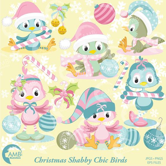 Christmas Shabby Chic Bird Clipart, Christmas Birds clipart.
