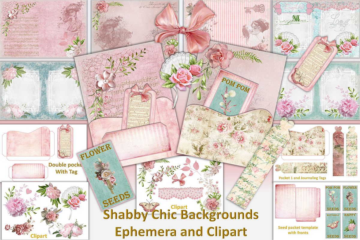 Shabby Chic Vintage backgrounds, Ephemera and Clipart Pmgs.