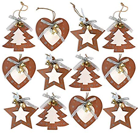 by Robelli Shabby Chic Wooden Christmas Tree Hanging Pendant Baubles  Decorations (12 x Copper Gold Hearts, Stars & Trees).