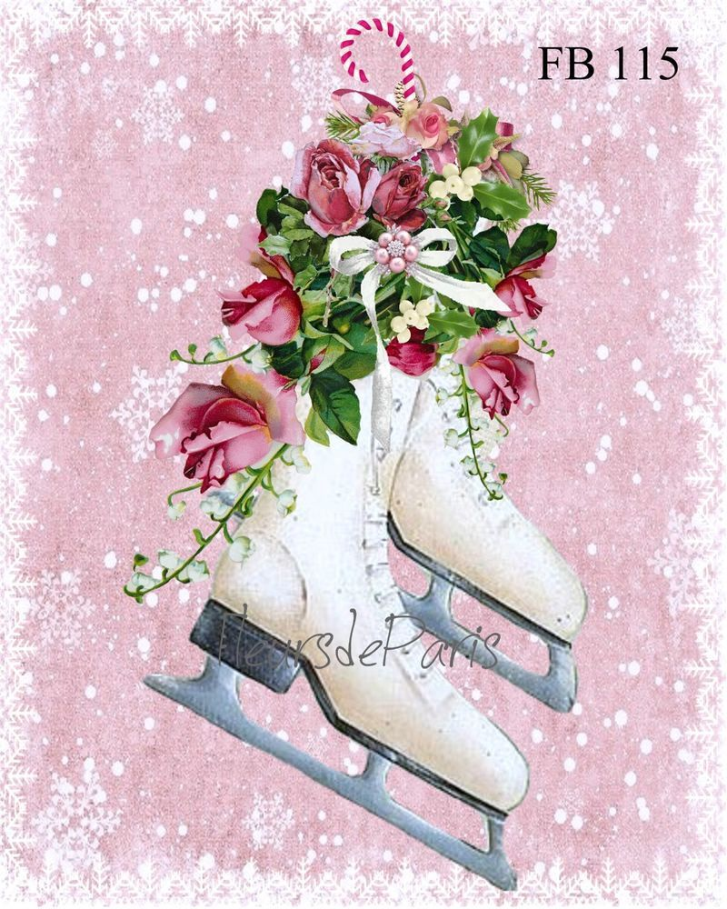 Shabby Chic Vintage Christmas Roses & Skates Print on Fabric.