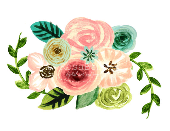 Floral clipart, wreath clipart, watercolor floral clipart.