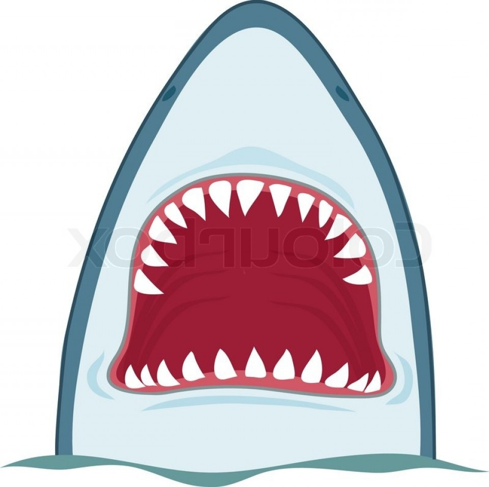 Free Stock Illustration Shark Mouth Over The Waves Draw.