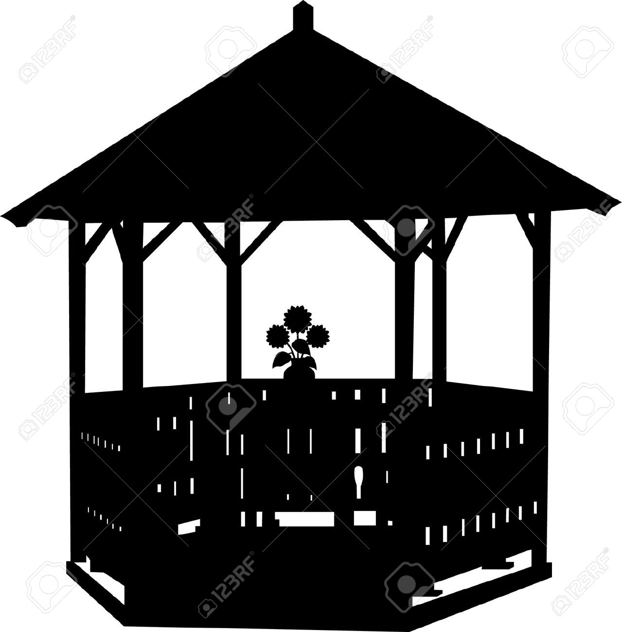Summer House Or Arbor With Flower Silhouette Royalty Free Cliparts.