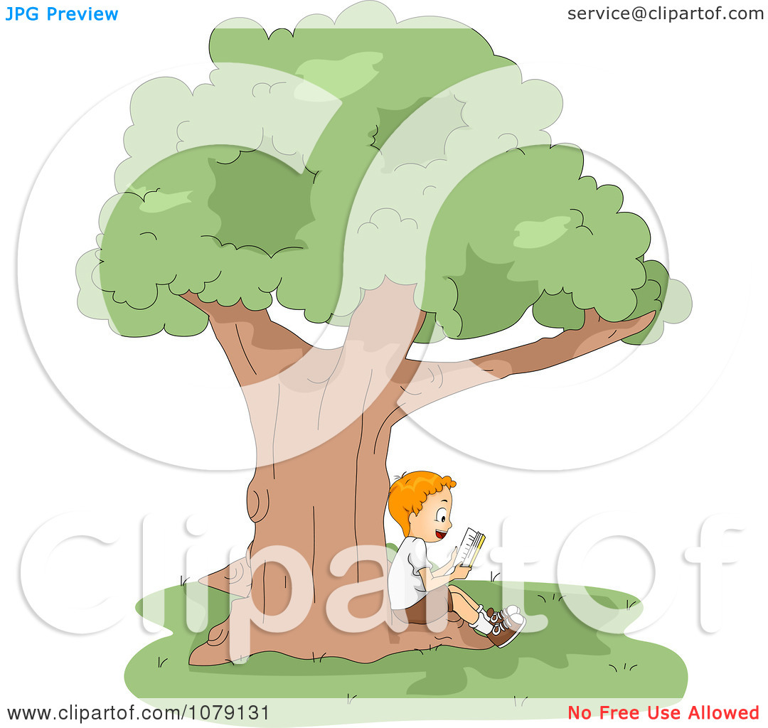 Clipart Boy Reading A Book In The Shade Of A Tree.