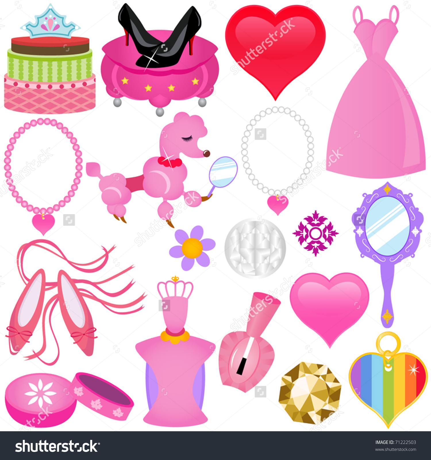 Vector Sweet Princess Theme Diva Pink Stock Vector 71222503.