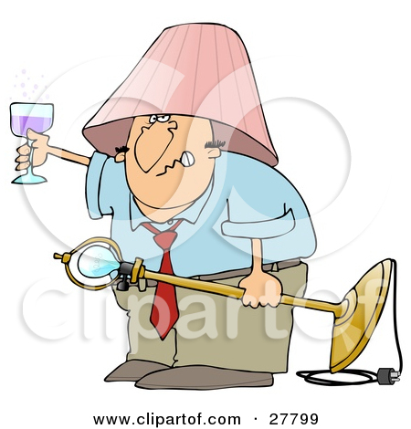 Clipart Illustration of a Snarling Drunk White Man With A Pink.
