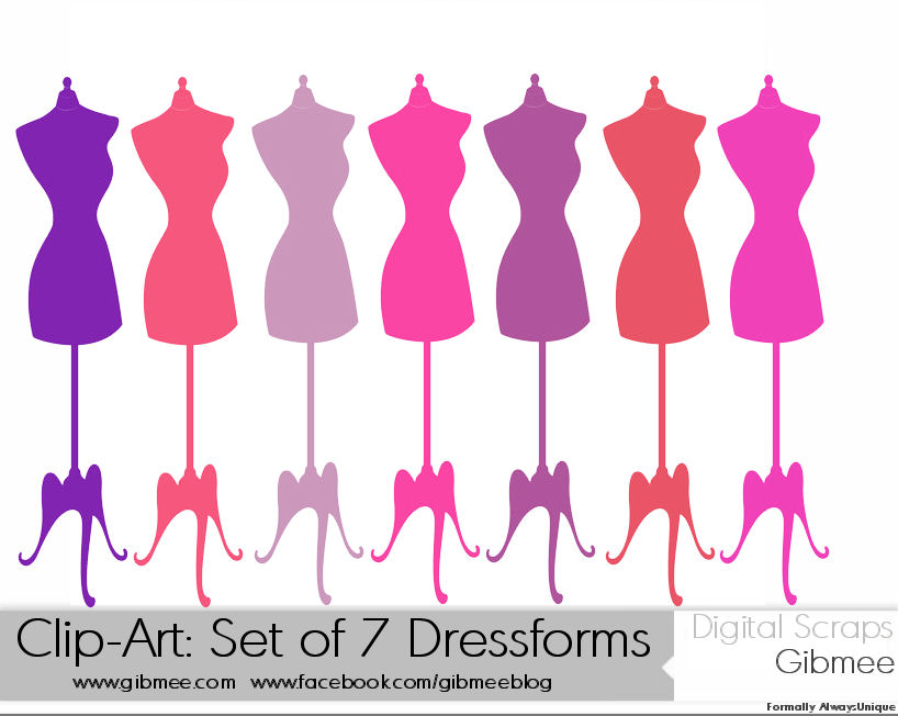 Clip Art Set of 7 Pink Shade Dress Forms by Gibmee on DeviantArt.