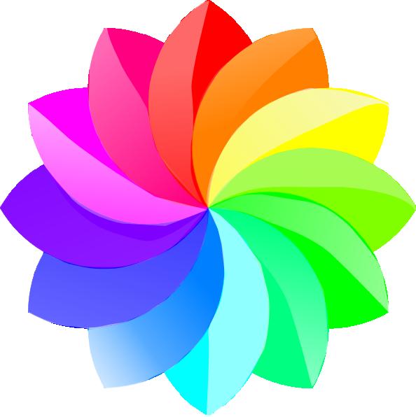 Shaded Rainbow Flower SVG Downloads.