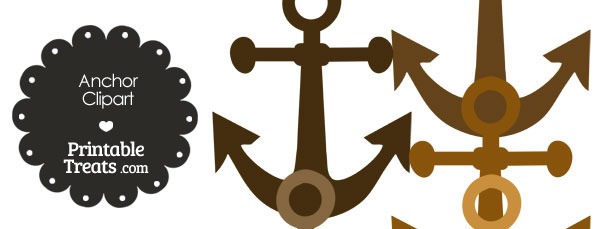 Anchor Clipart in Shades of Brown — Printable Treats.com.