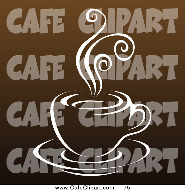 Vector Clip Art of a Steamy Cup of Coffee Outline on Shades of.