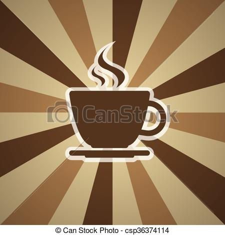 Vector Clip Art of Cup of coffee on background with three shades.