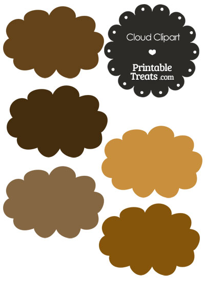 Cloud Clipart in Shades of Brown — Printable Treats.com.
