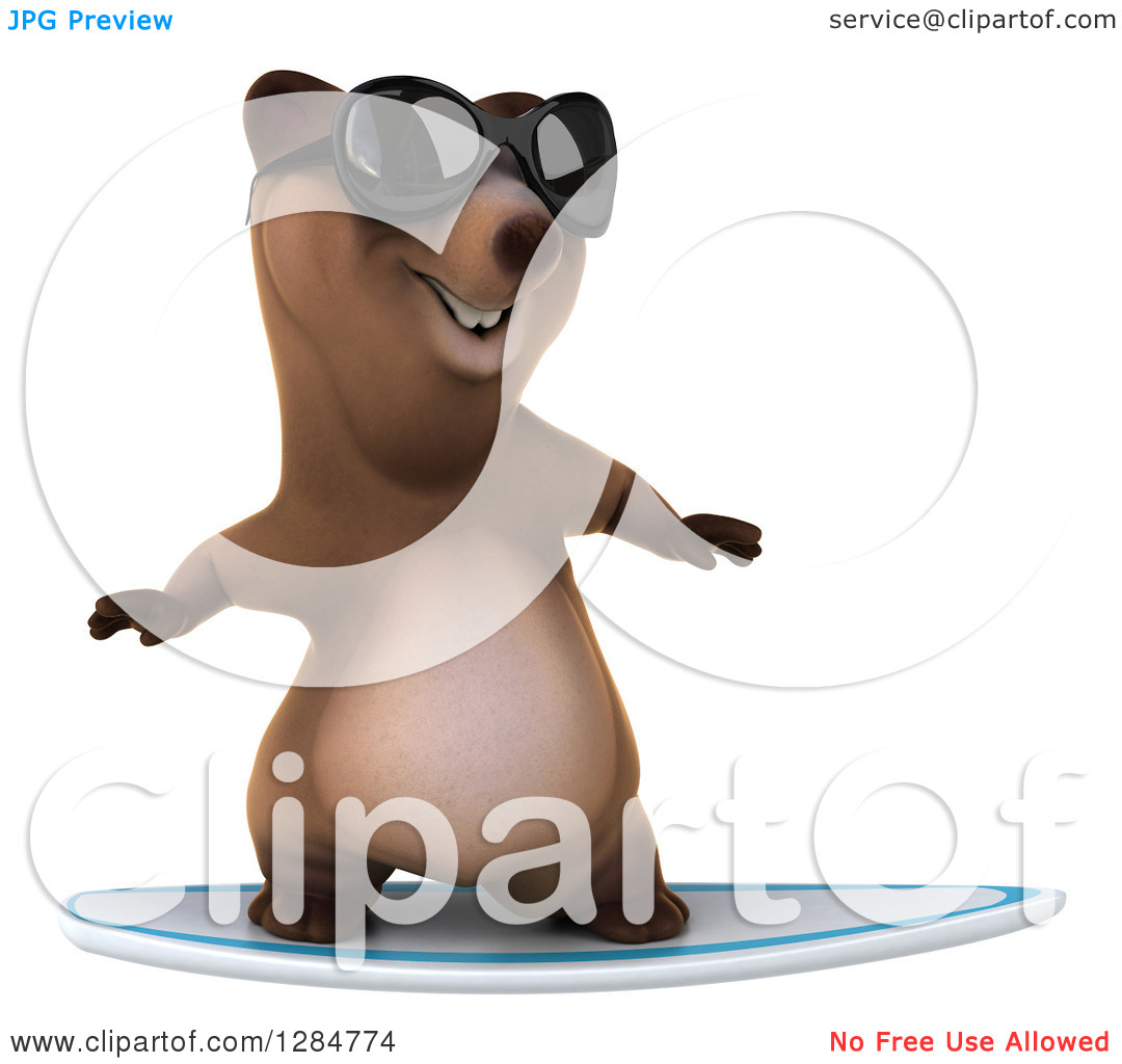 Clipart of a 3d Brown Bear Wearing Shades and Surfing.
