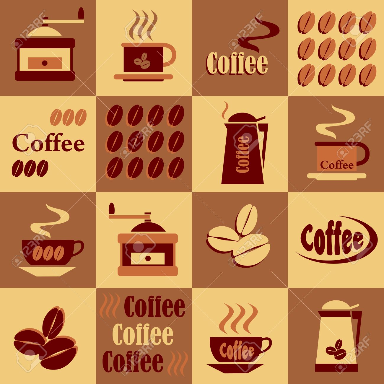 Set Of Coffee On A Checkerboard Background In Shades Of Brown.
