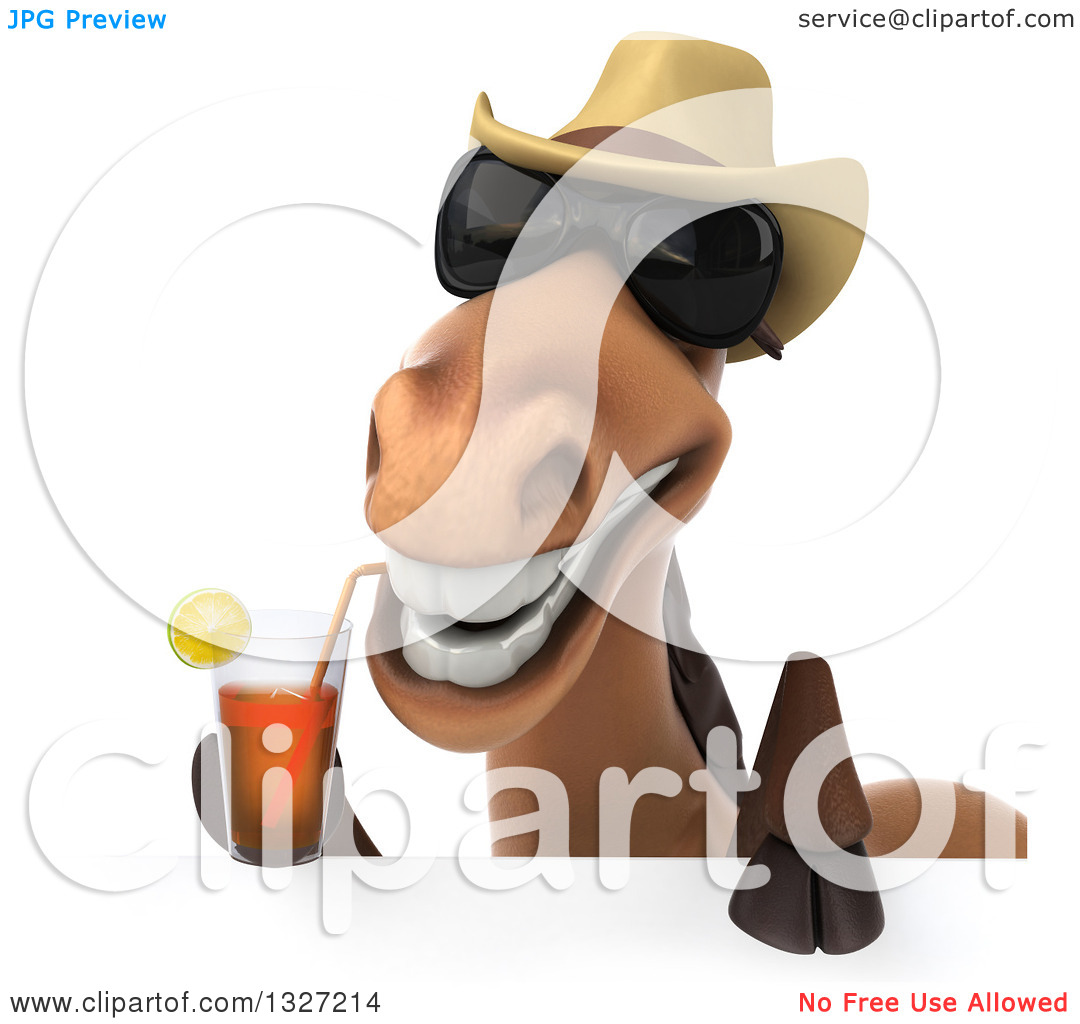 Clipart of a 3d Brown Cowboy Horse Wearing Shades and Drinking Tea.