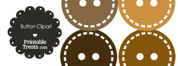 Button Clipart in Shades of Brown — Printable Treats.com.