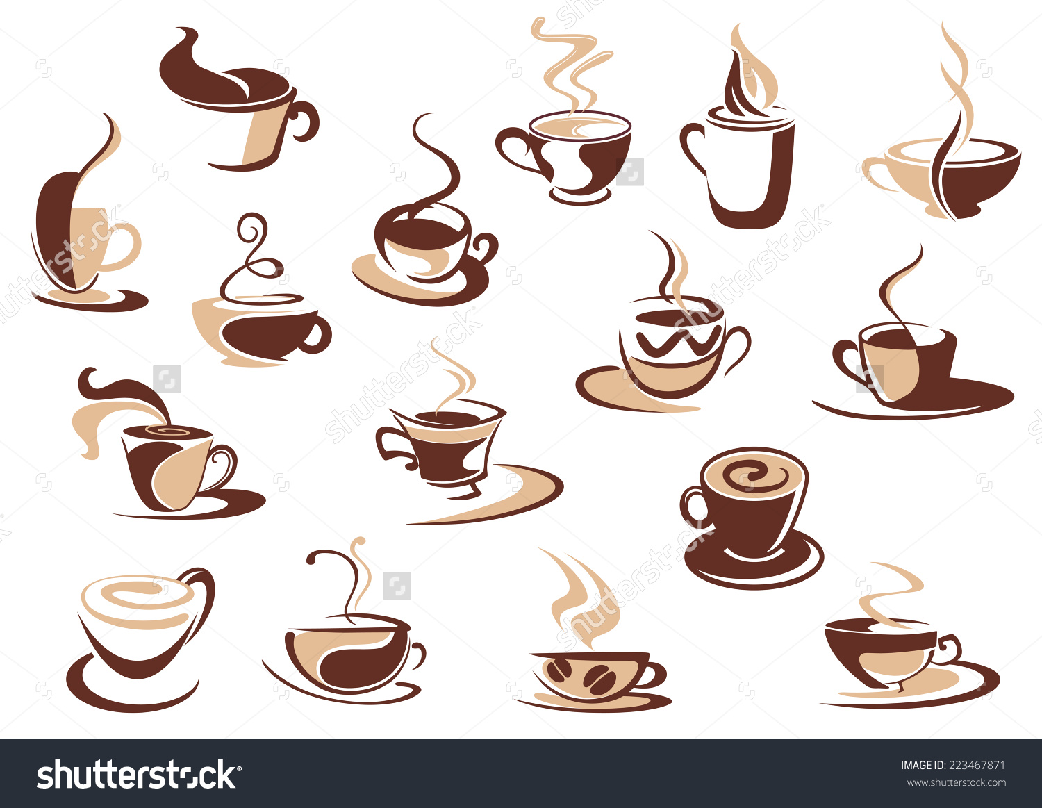 Coffee Cup Icons Shades Brown Doodle Stock Vector 223467871.