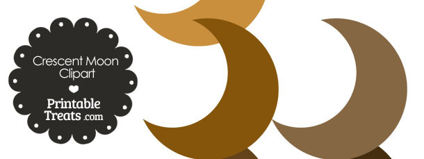 Crescent Moon Clipart in Shades of Brown — Printable Treats.com.