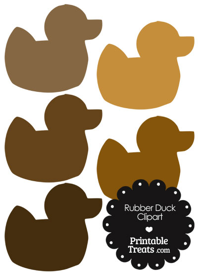 Rubber Duck Clipart in Shades of Brown — Printable Treats.com.