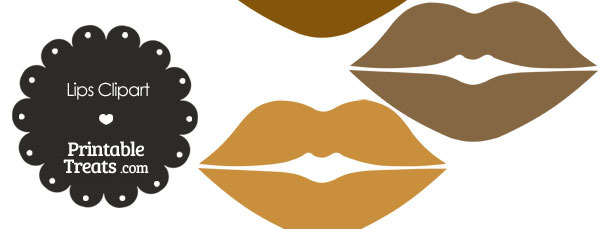 Lips Clipart in Shades of Brown — Printable Treats.com.