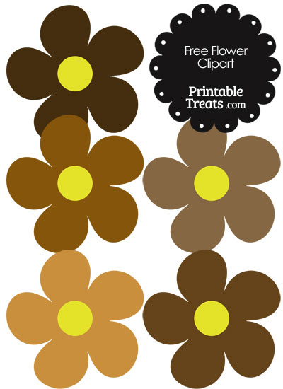 Cute Flower Clipart in Shades of Brown — Printable Treats.com.