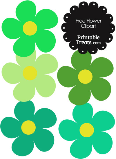 Cute Flower Clipart in Shades of Green — Printable Treats.com.