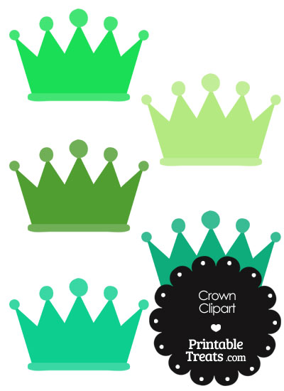Crown Clipart in Shades of Green — Printable Treats.com.