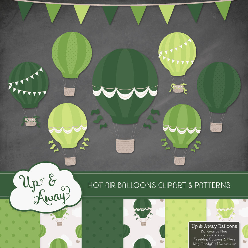 Hot Air Balloons Clipart Shades of Green.