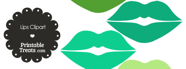 Lips Clipart in Shades of Green — Printable Treats.com.