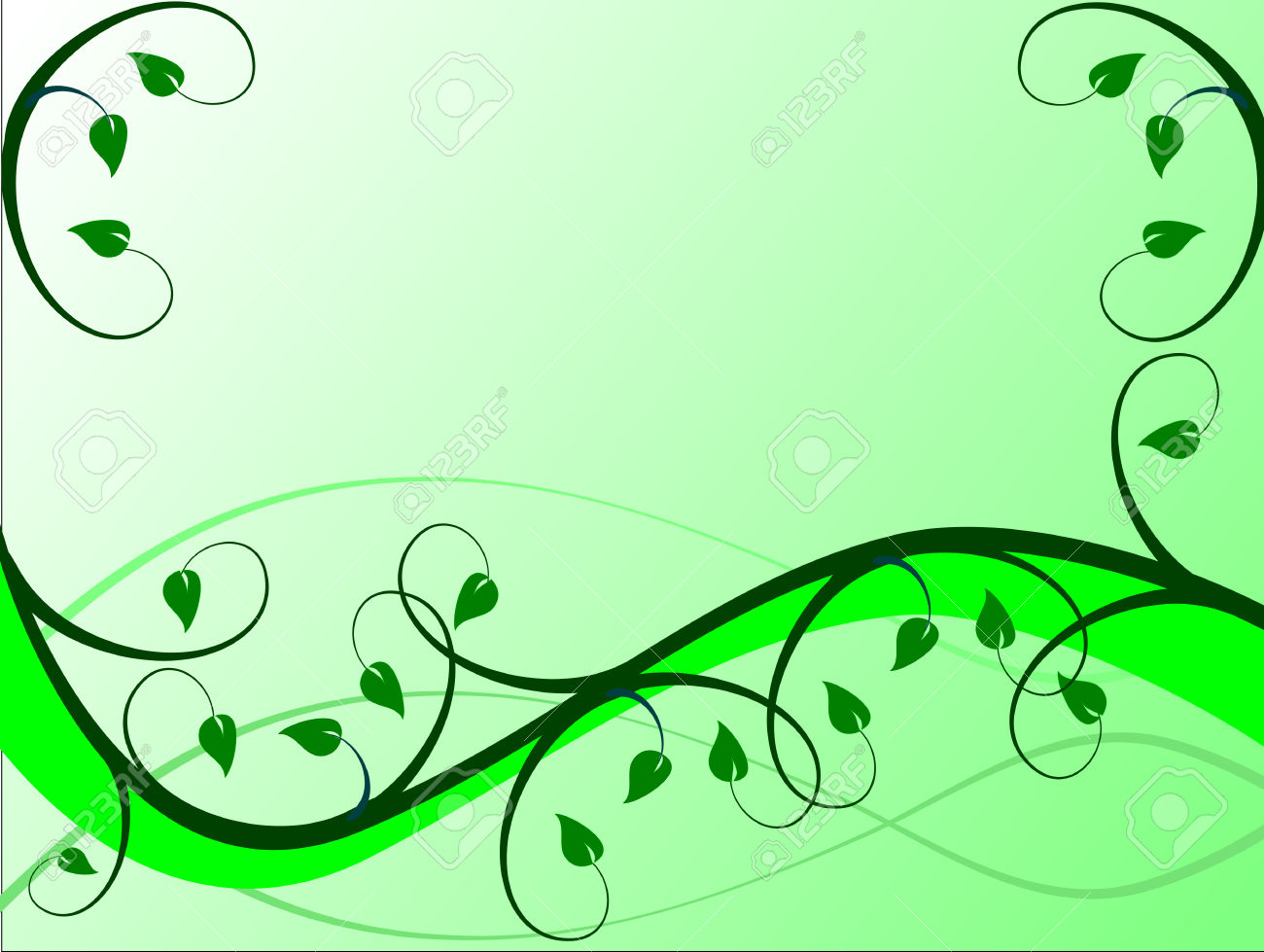 A Floral Background In Shades Of Green With Leaves And Swirls.