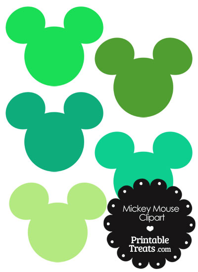 Mickey Mouse Head Clipart in Shades of Green — Printable Treats.com.
