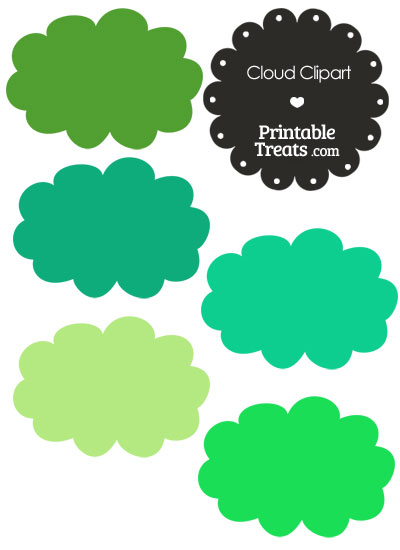 Cloud Clipart in Shades of Green — Printable Treats.com.